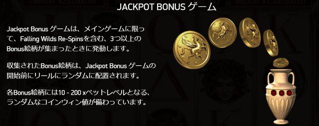ジャックポットチャンスは、コインのシンボルを3つ出現させた時